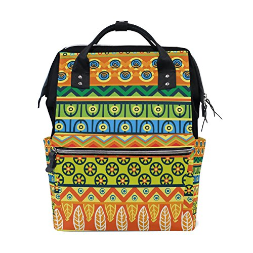 Backpack School Bag Africa Art Colorful Canvas Travel Doctor Style Daypack by WIHVE