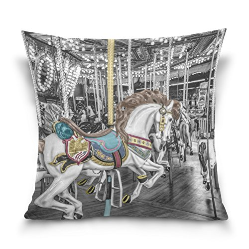 Josid Throw Pillow Covers Cases Square Double Sided Carousel Merry-Go-Round Roundabout Whirligig 18 x 18 Inches Invisible Zipper Home Decor for Couch Bed (Whirligig Dragonfly)