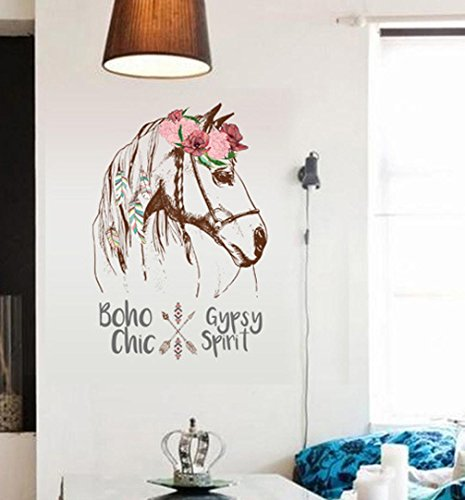 BIBITIME Feather Wreath Horse Wall Decal Indian style Arrow Art Sticker Sayings Lettering Boho gypsy Chic Spirit Quotes Mural,DIY 22.04