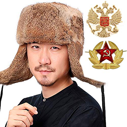 Rabbit Fur Trooper Hat - Valpeak Mens Winter Hat Real Rabbit Fur Russian Ushanka Hats (Tan, XL)