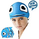 Swim Caps, ZIONOR Silicone Swimming Caps for Youth Kids with Cute Animal Cartoon Elastic Designed Non-toxic, Allergy-free Waterproof, Eco-friendly for Boys Girls 3 - 12 Years Old
