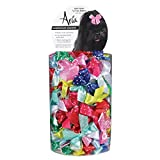 Aria Satin Acecate Dog Bows Canister, Dot Ribbon, 100-Pack
