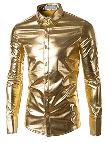 Seastar Mens Halloween Glossy Costume Metallic Disco Clubwear Button Down Shirts ()