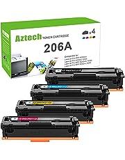 Aztech Compatible Toner Cartridge Replacement for HP 206A W2110A 206X W2110X for HP Color Laserjet Pro MFP M283FDW M255DW M283CDW M283 M255 Printer Ink (Black Cyan Yellow Magenta, 4-Pack)