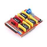 Akozon CNC Shield Expansion Board +4Pcs A4988 Stepper Motor Driver with Heatsink for Engraver 3D Printer for Arduino Kits