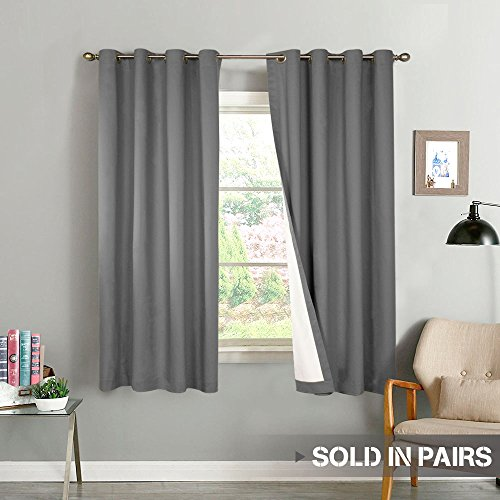 Moderate Blackout Curtains for Bedroom 63 inch Length Thermal Insulated Lined Window Curtain Panels for Living Room Darkening Curtains, 2 Panels, Grey
