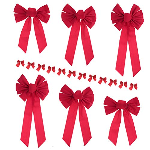(Masonicbuy Large Red Velvet Bow 6 Pack 3 Size Holiday Christmas Bow, 12 Mini Red Ribbon with Gold Foil Tie Back for Party Wreaths Christmas Tree Ornaments Decor (Red))