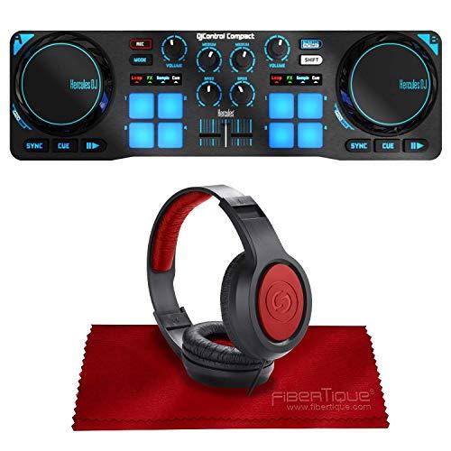 Hercules DJControl Compact Controller for Serato DJ Software w/Headphones + Basic Accessory Bundle