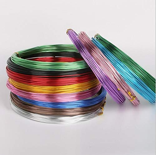 WellieSTR 12 Color (5M/roll 2mm) Round Aluminum Wire Versatile Painted Aluminium Metal Wire, for DIY Jewelry Findings ()