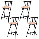 Counter Height Folding Chairs COSTWAY Set of 4 Folding Bar Stools Counter Height Bistro Dining Kitchen Pub Chair (Height from Ground to Seat: 22.8