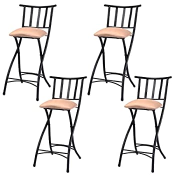 "COSTWAY Set of 4 Folding Bar Stools Counter Height Bistro Dining Kitchen Pub Chair (Height From Ground To Seat: 22.8"")"