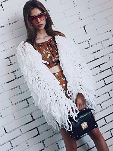Unique Fashion Bianca Stlie Monocromo Giaccone Cappotto Invernali Giacca Donna Eleganti Con Vintage Manica Sciolto Autunno Lunga Cardigan Maglia A Tassels Casuale RqOSgPR
