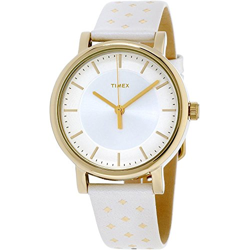 Timex Main Street Silver Dial Leather Strap Ladies Watch TW2R11700