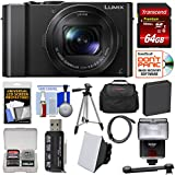 Panasonic Lumix DMC-LX10 4K Wi-Fi Digital Camera with 64GB Card + Battery + Case + Tripod + Flash + Kit