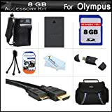 8GB Accessories Kit For Olympus E-PL5 Interchangeable Lens Digital Camera Includes 8GB High Speed SD Memory Card + Extended Replacement (1400 maH) BLS-5 Battery + AC/DC Travel Charger + Mini HDMI Cable + USB 2.0 Reader + Case + Screen Protectors + More
