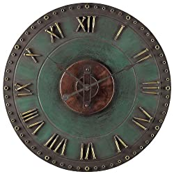 Sterling 128-1004 Metal Roman Numeral Outdoor Wall Clock, 32-Inch, Marilia Verde with Gold