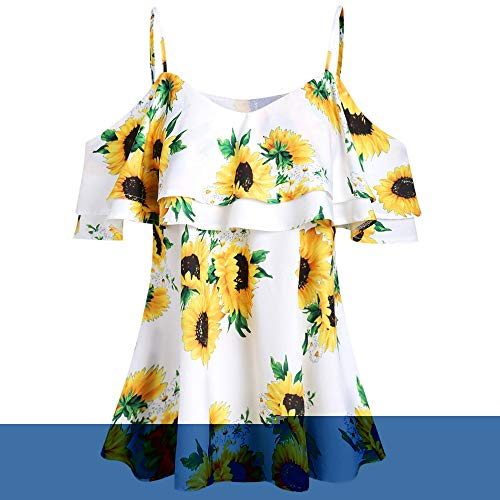 (KCatsy Sunflower Cold Shoulder Flounce Blouse White)