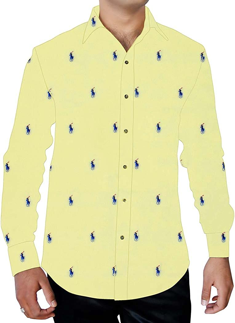 INMONARCH Mens Yellow Printed Cotton Shirt Polo Rider Design ST16099