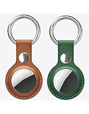 [2 stuks] Apple air tag-sleutelhanger, Apple AirTags sleutelhanger van leer, air tag-hanger, beschermt de Airtag-locator tegen krassen en is veiliger (groen + bruin)