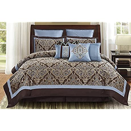 Wonder Home Turin 10PC Jacquard Comforter Set King Brown