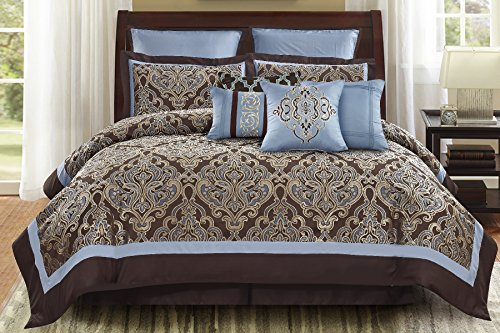 Brown And Blue Comforter - Wonder Home 10 Pieces Turin Elaborate Damask Jacquard Queen Size Comforter Set, King, Brown/Blue