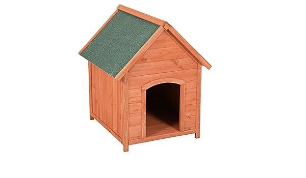 Caseta para exteriores (Madera de pino marrón con machimbre - Casa Perros Verde Impermeable para Perros con techo desmontable, aprox. 66 x 82,5 x 74 cm: ...
