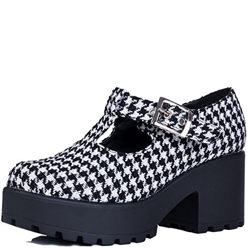 Spylovebuy Cattie Femmes Ajustable Boucle à Talon Bloc Bottines Chaussures Noir - Houndstooth NBoJMCLfj4