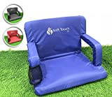 Soft Touch Extra Wide Stadium Seats for Bleachers | Stadium Chairs for Bleachers with Back Support | Bleacher Seats with Backs and Cushion … (Skydiver Blue)