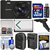 Sony Cyber-Shot DSC-WX350 Digital Camera (Black) with 32GB Card + Case + Battery & Charger + Tripod/Grip Kit