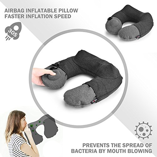 Kmall Inflatable Travel Neck Pillow for Airplane Travel Best Neck Support Sleep Travel Pillow with Super Comfort Pillow Case by Kmall (Image #1)