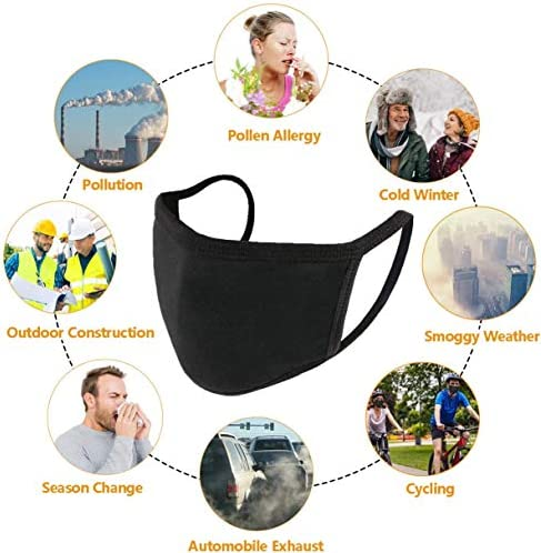 20-Pack Fashion Black Stretch Lightweight Comfy Breathable Cotton Fabric Face Reusable Washable for Unisex Outdoor Cycling Camping Travel for Women Kids Teens Men