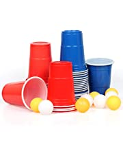 100x Beer Pong Becher Partybecher Set Plastikbecher Rot und Blau 473ml Bier Pong Cups mit Bällen, 16oZ für Getränke Party Camping Cocktail Bier Neues Jahr Weihnachten Geburtstag Festivals Hochzeit