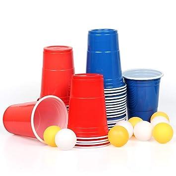 Mozooson 100 Vasos Desechables De 16oz Beer Pong Vaso Para Fiesta