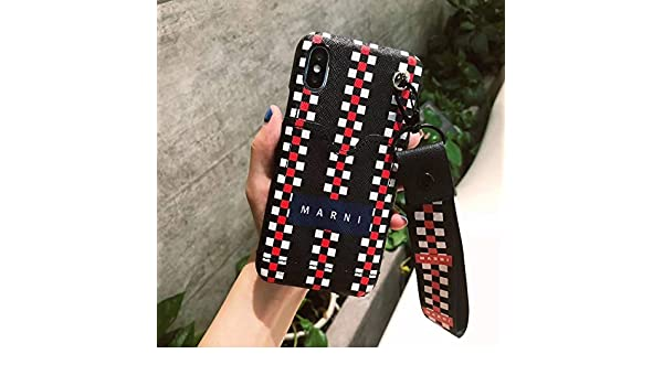 Amazon.com: Maxlight Luxury Italy Marni Phone Case Cover for iPhone X XS Max Luxury Brand for iPhone 7 8 Plus Wrist Strap Case Cover Hard Case (Black, ...