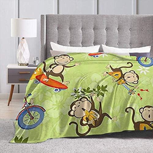 uxingdouriyongpin Jouer aux singes Micro Couverture de Jet en Polaire Super Doux léger Couvre-lit résistant aux Rides Toute Saison pour Ho