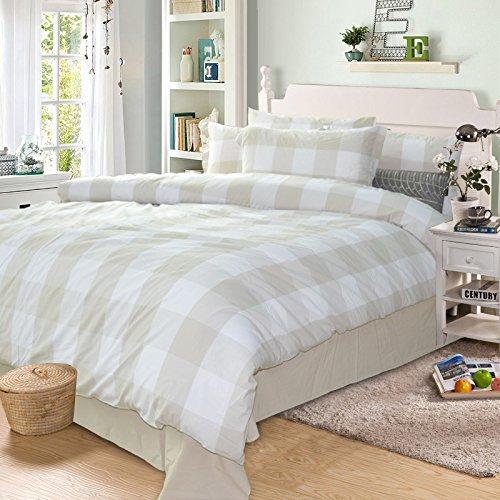 Check Linen (Merryfeel 100% cotton yarn dyed Duvet Cover Set - King Linen)