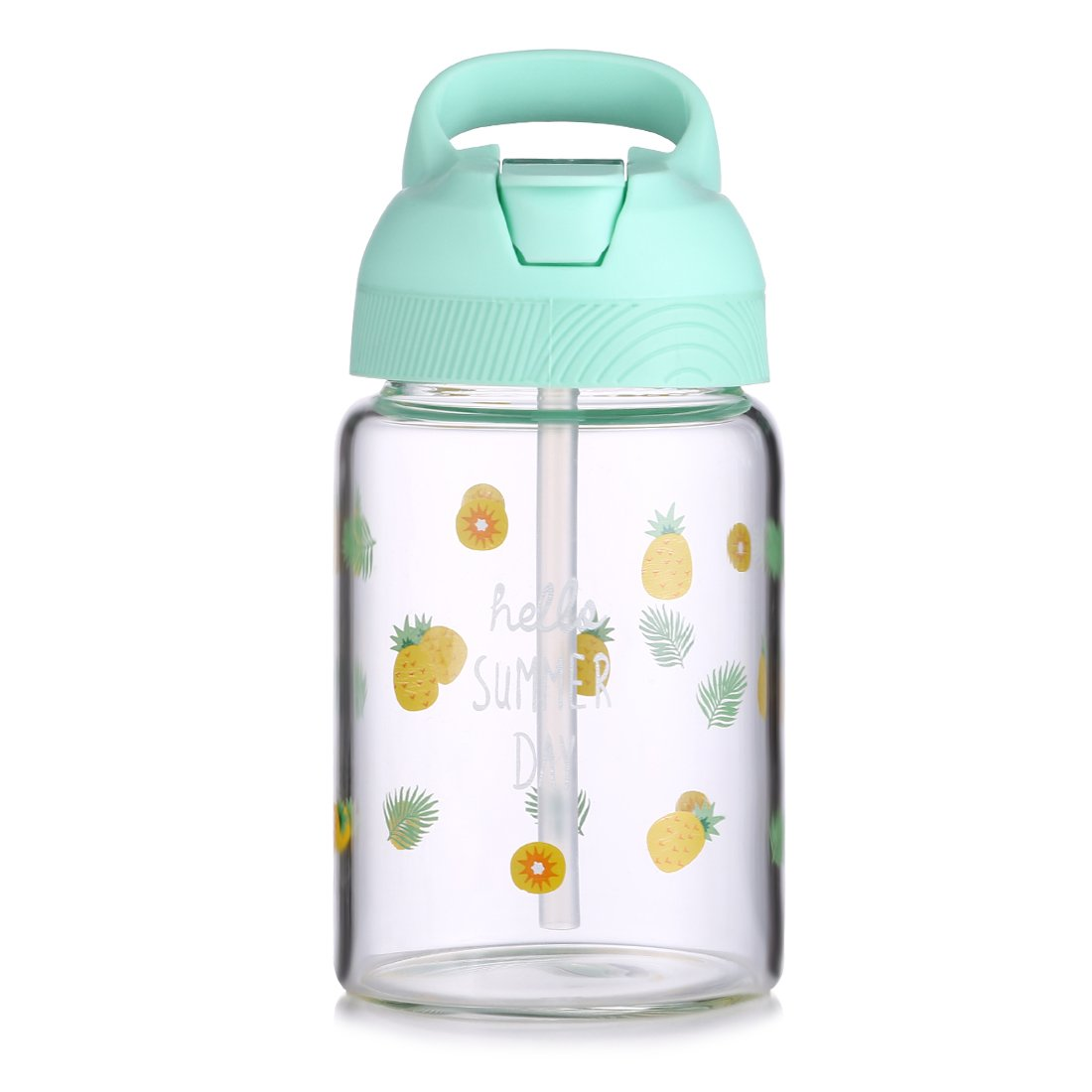 ONEISALL 400ML/14oz Kids/Child/Adult Travel Mug, Straw Bottle, Borosilicate Glass Water Bottle, Tea, Coffee, Juice, Milk, Hot/Iced Drinking Tumbler Cup with Portable Handle/Grip (Green)
