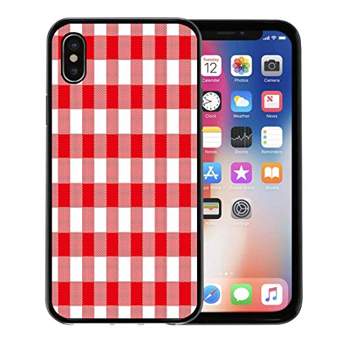 Semtomn Phone Case for Apple iPhone Xs case,Abstract of Red Checkered Gingham Table Vintage Retro Styled Traditional Pattern Also for Napkin for iPhone X Case,Rubber Border Protective Case,Black
