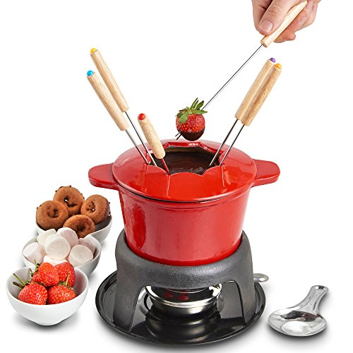 VonShef Fondue Set with 6 Fondue Forks, Stylish Cast Iron Porcelain Enamel Fondue Pot Makes All Styles of Fondue Such as Cheese and Chocolate, 1.6 QT Capacity, Red, 12pc Set by VonShef (Image #4)