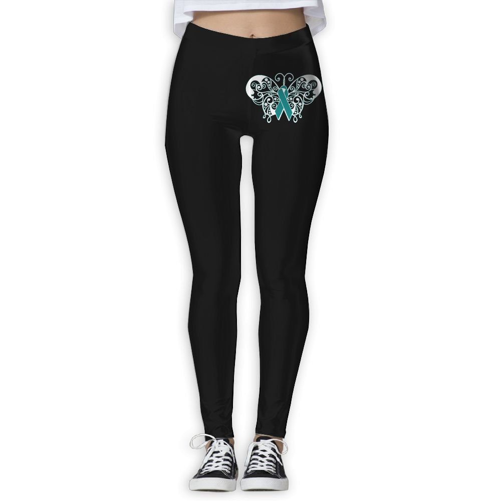 DDCYOGA Sexual Assault Awareness Ribbon Butterfly Women's Tights Activewear Yoga Leggings Fitness Yoga Sport Pants For Girls