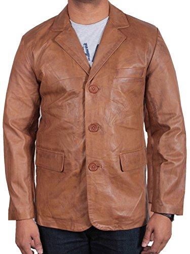 - Brandslock Mens Italian Genuine Leather Blazer Jacket BNWT Small Tan