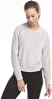 product image for US Blanks Ladies' Velour Long Sleeve Crop T-Shirt S Silver