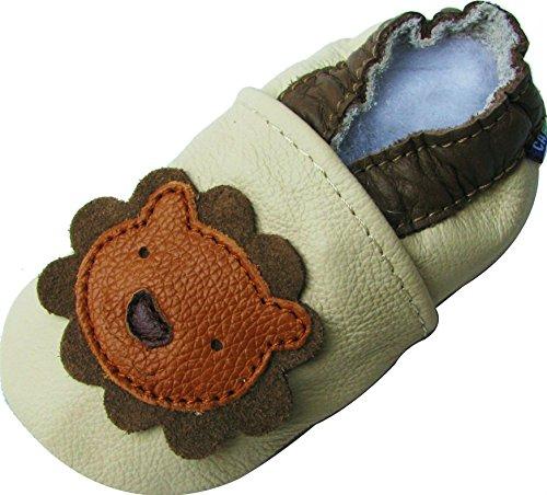 Carozoo Weiche Sohle Leder Babyschuhe Krabbelschuhe Lauflernschuhe Krippe Enfants Hausschuhe Neugeborene (0-6 Monate bis 7-8 Jahre) Jungen Mädchen Löwe