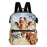 Laptop Backpack Lightweight Waterproof Travel Backpack Double Zipper Design with Giraffes Painting School Bag Laptop Bookbag Daypack for Women Kids