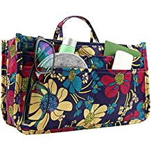 MICOM Cute Printing Expandable 13 Pocket Handbag Insert Purse Cosmetic Bag Organizer with Handles for Women (Blue Flower)