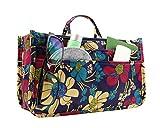 large bag insert - Handbag Organizer, Cute Printed 13 Pockets Purse Insert Organizer Bag with Handles (Blue Flower)