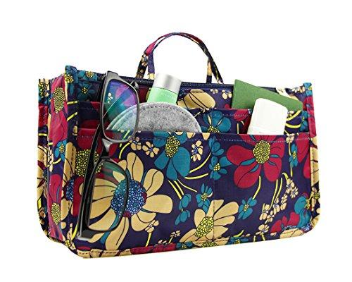 Micom Cute Printing Expandable 13 Pocket Handbag Insert Purse Cosmetic Bag Organizer with Handles for Women (Blue Flower)