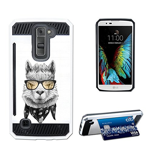 [For LG Tribute 5, LG K7 Case case Slim Fit Metallic Chic Heavy Duty Protection with Card slot stand Holder design pattern [Llama Hipster]] (Llama Stands)