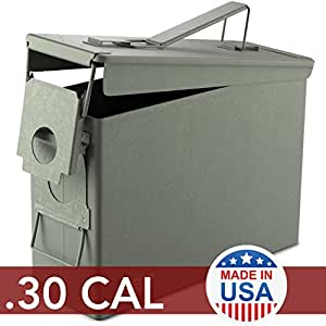 Solid Tactical 30 Cal Metal American Made Ammo Can - Military & Army M2A1 Steel Waterproof Ammunition Box for Long Term Storage
