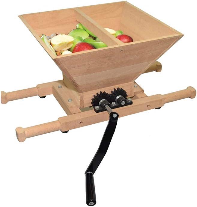 Fruit and Apple Crusher - 7L Manual Juicer Grinder,Portable Fruit Scratter Pulper for Wine and Cider Pressing(Wood,1.8 Gallon)